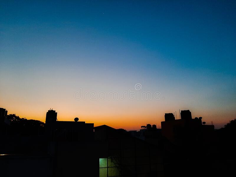 Cool breezy sunset at 7pm evening stock image
