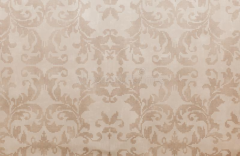 Cool brown distressed retro floral wallpaper royalty free stock image