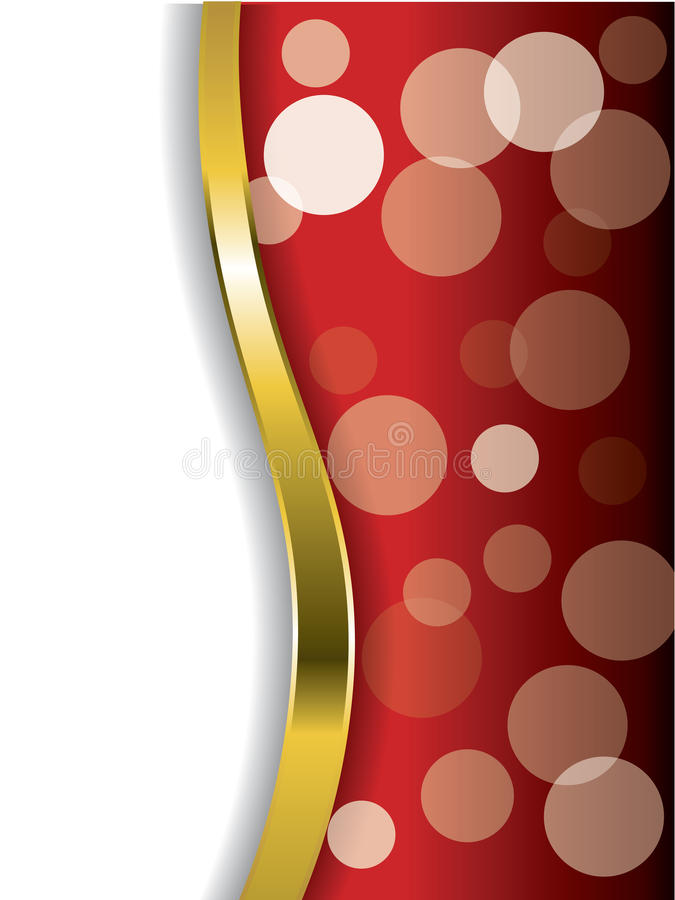 Cool bubbles on red with gold wave royalty free illustration