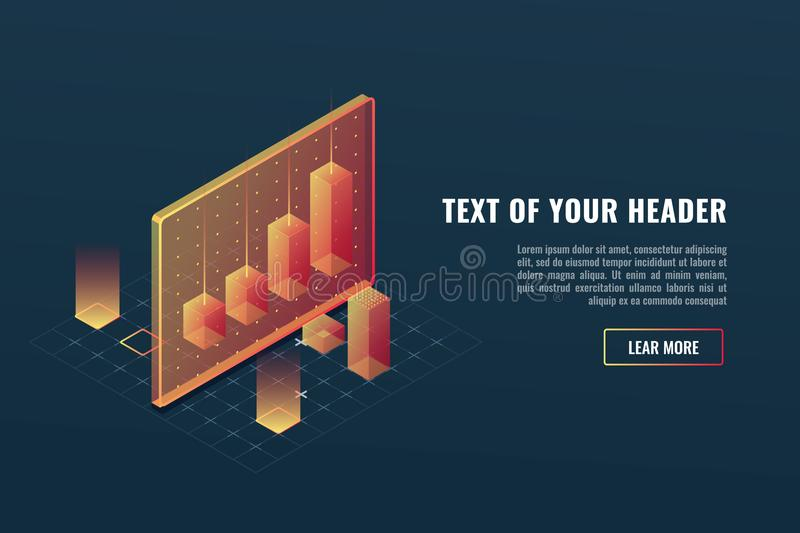 Cool business analytics concept, data visualization, 3d infographics, charts and diagram isometric vector. Illustration vector illustration