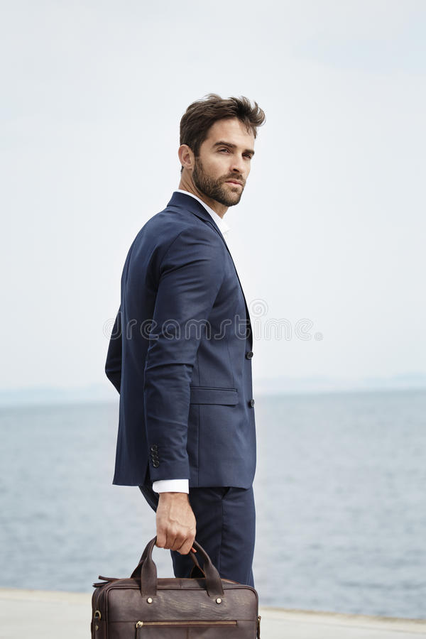 Cool business dude in suit stock image