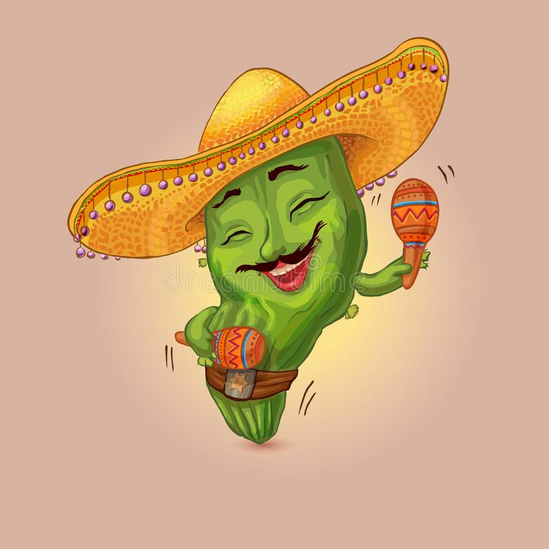 Cool cactus character. Dancing with maracas in sombrero hat. Siesta time illustration suitable for festival of Mexican cuisine stock illustration
