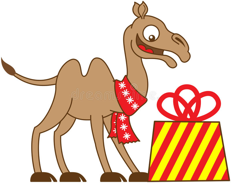 Cool camel receiving a Christmas gift vector illustration