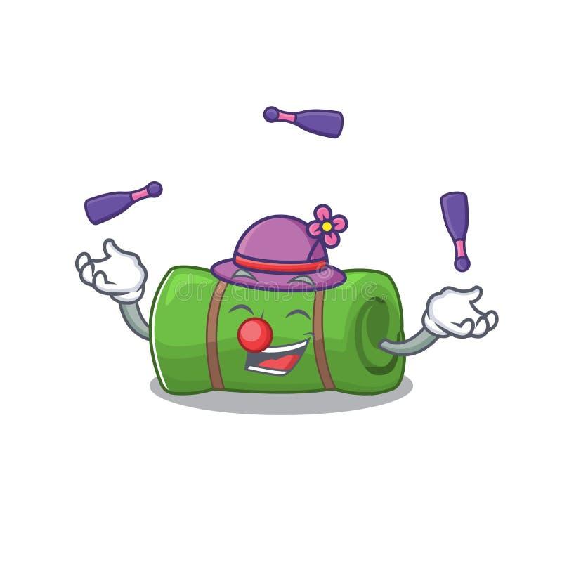 Cool camping mat Scroll mascot cartoon style play Juggling royalty-vrije illustratie