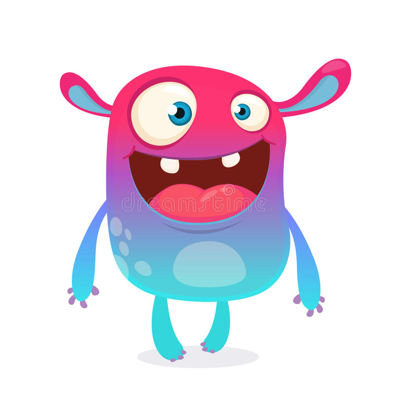 Cool cartoon alien. Purple and pink bizzare colorful alien monster for Halloween. Vector illustration. royalty free illustration