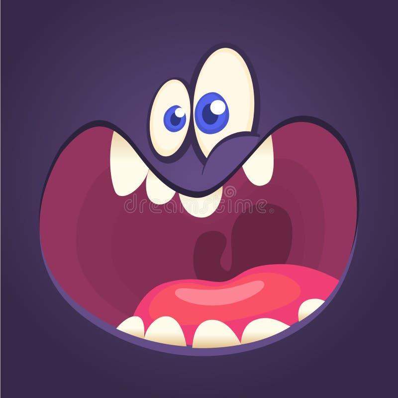 Cool cartoon black monster face yelling. Halloween vector illustration.  stock illustration