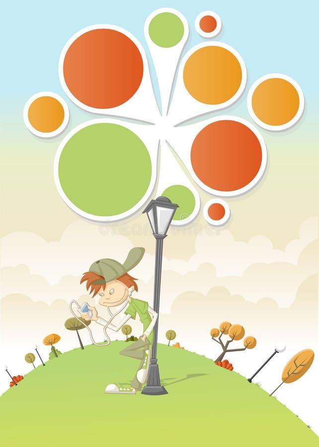 Download Cool Cartoon Boy Listening Music Stock Vector - Illustration of comic, magazine: 27174354