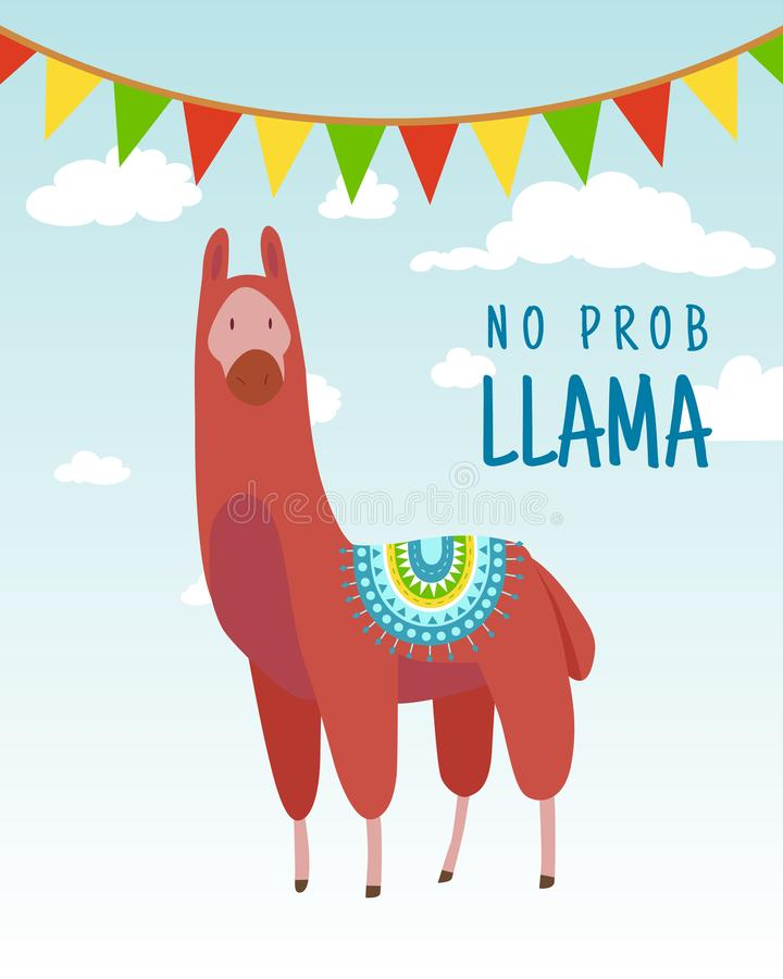 Cool cartoon doodle alpaca lettering quote with No prob llama. Funny wildlife animal on cactus background, lama quotes vector illustration