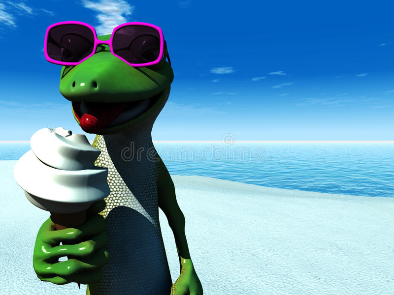Cool Cartoon Gecko Eating Ice Cream On The Beach. Royalty Free Stock Image