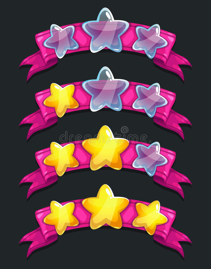 Cool cartoon glassy stars on pink ribbon royalty free illustration