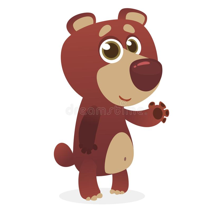 Cool cartoon grizzly bear. Vector illustration of a bear waving hand. Isolated on white. Design for print, package or book illustr. Ation royalty free illustration