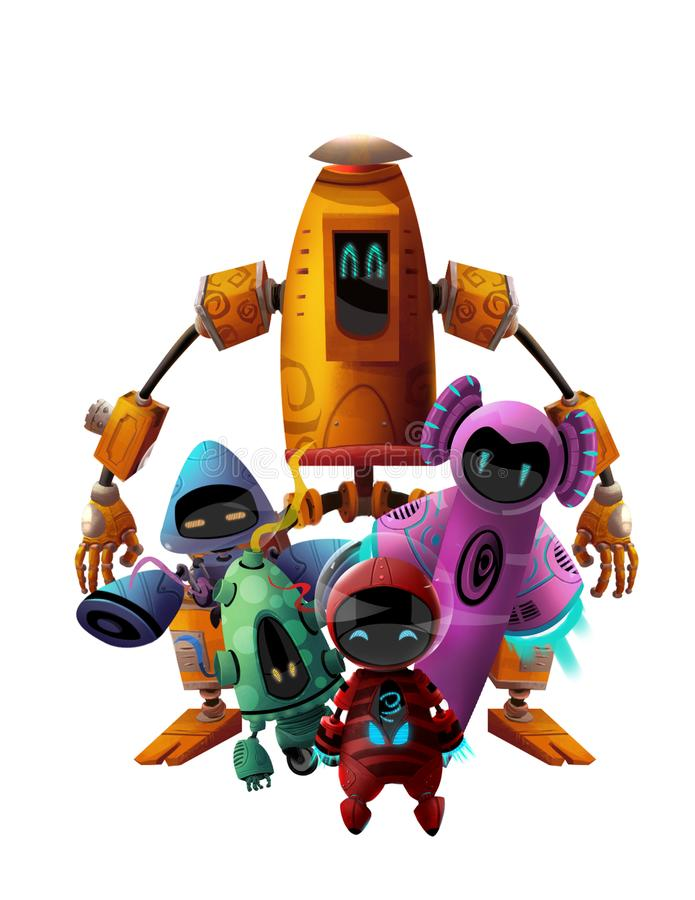 Cool Character: Five Robots making a Team Pose on White Background. Video Game`s Digital CG Artwork, Concept Illustration, Realistic Cartoon Style Background royalty free illustration