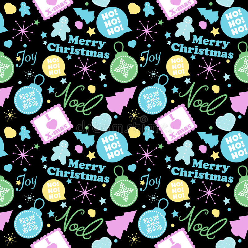 Cool Christmas Pattern. A seamless Christmas pattern with pastel colors. In four panels to the side of pattern can be adjusted royalty free illustration