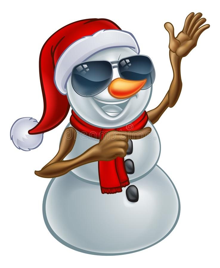 Cool Christmas Snowman in Santa Hat and Sunglasses. A cool snowman Christmas character wearing a Santa hat and sunglasses or shades pointing his finger at stock illustration