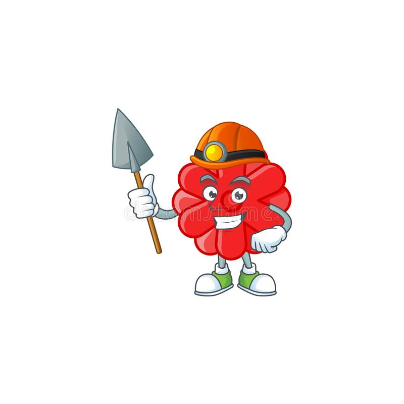 Cool clever Miner chinese red flower cartoon character design. Vector illustration stock illustration