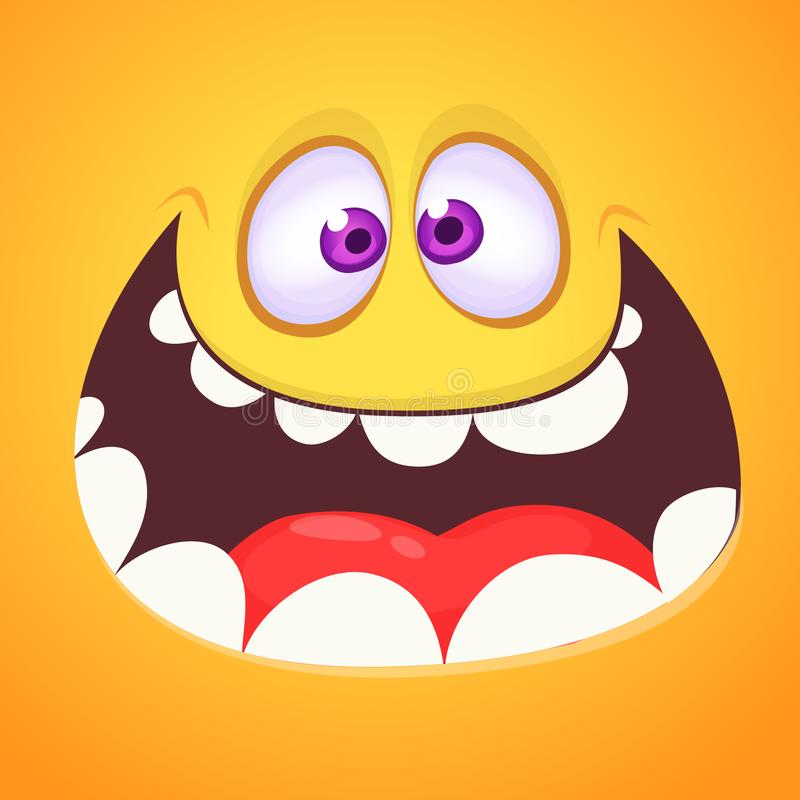 Cool crazy cartoon monster face. Vector Halloween orange monster with wide mouth smiling royalty free illustration