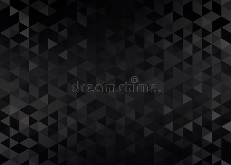 Black brilliant abstract pattern. Dark triangle crystals shimmer background. vector illustration