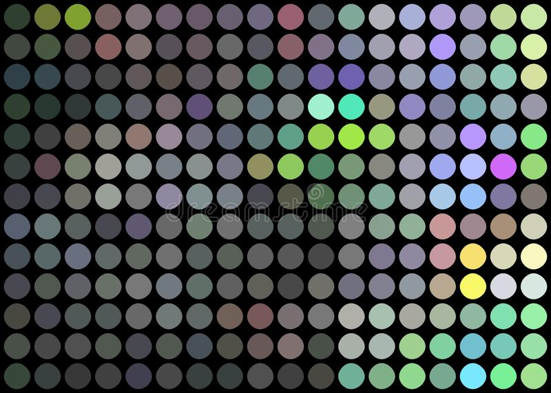 Holographic metal mosaic disco background. Shimmer grey blue green dots pattern. royalty free illustration