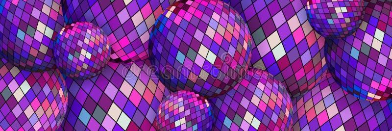 Purple mirror disco balls 3d background. Festive party wallpaper web design. royalty free stock photos