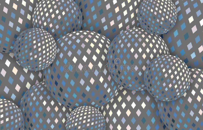 Shiny hologram 3d spheres. Shimmer grey yellow blue mirror mosaic background. royalty free illustration