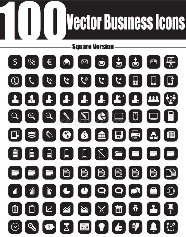 100 Vector Business Icons - Square Version vector illustration