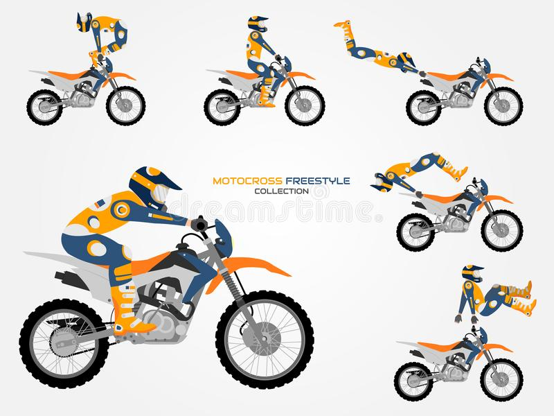 Crossbike set. Different crossbike tricks, flat style. royalty free stock photography