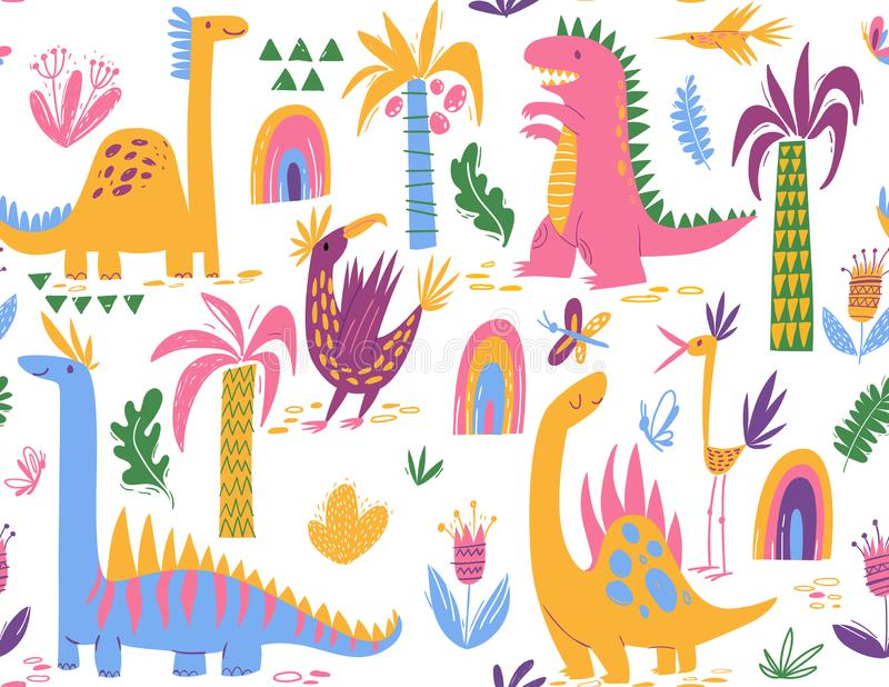 Cool Cute colorful seamless pattern with dinosaurs. Cute colorful seamless pattern with different dinosaurs royalty free illustration