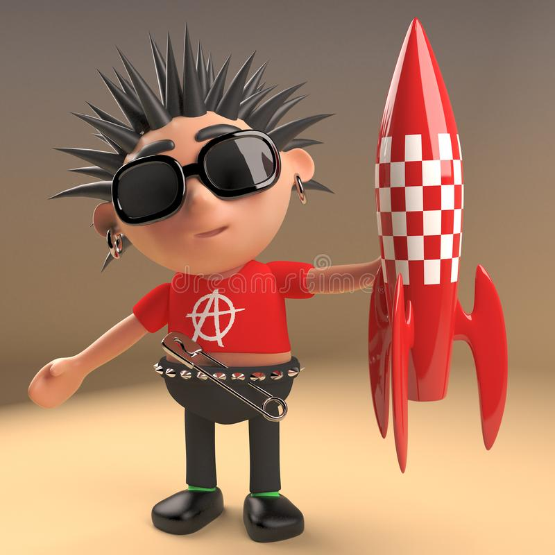 Cool 3d punk rocker with spikey hair holding a retro red spaceship rocket, 3d illustration. Render stock illustration