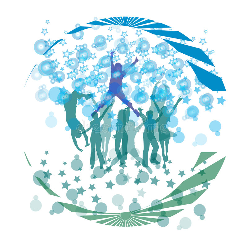 Cool dance and forming bubbles royalty free illustration
