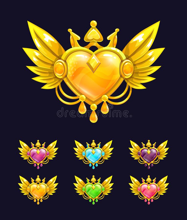 Cool decorative heart with golden wings and crown. royalty free illustration