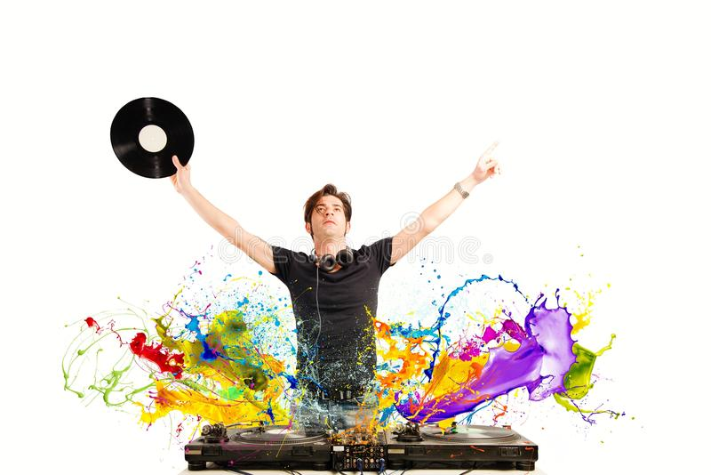 Cool DJ playing music royalty free stock photos