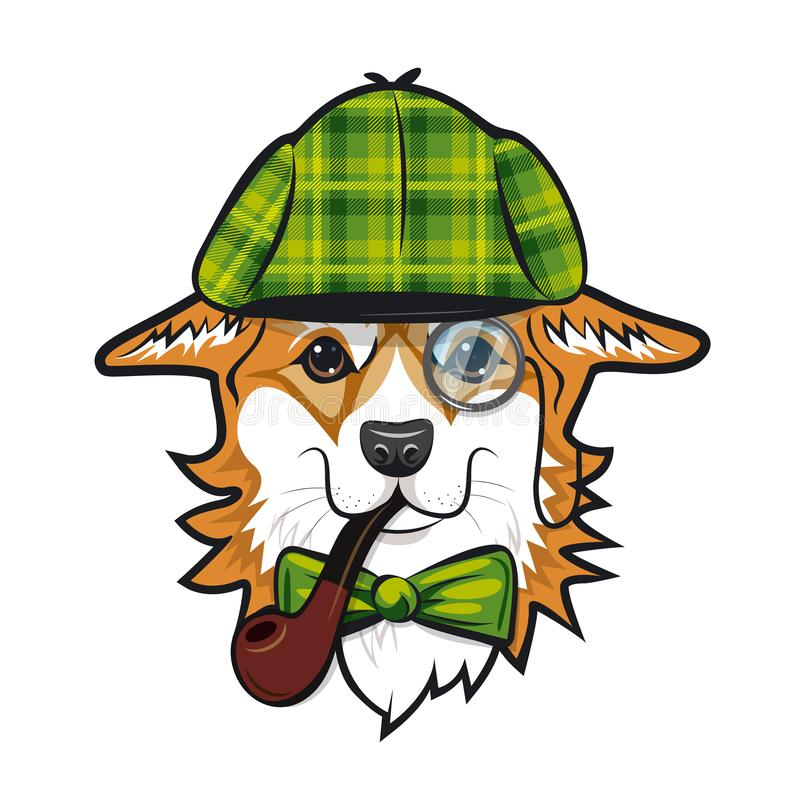 Cool dog welsh corgi face with green checkered hat and smoking pipe like Sherlock Holmes. Color vector illustration. Cool dog welsh corgi face with green royalty free illustration