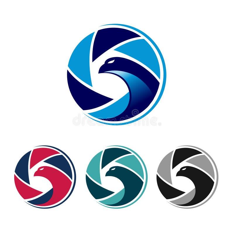 Cool Eagle Bird Shutter Camera Colorful Logo Set royalty free illustration