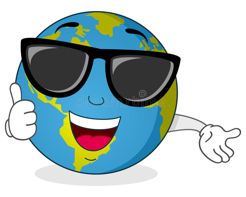 Cool Earth Character with Sunglasses. A cool cartoon happy earth character smiling with thumbs up, isolated on white background. Eps file available royalty free illustration