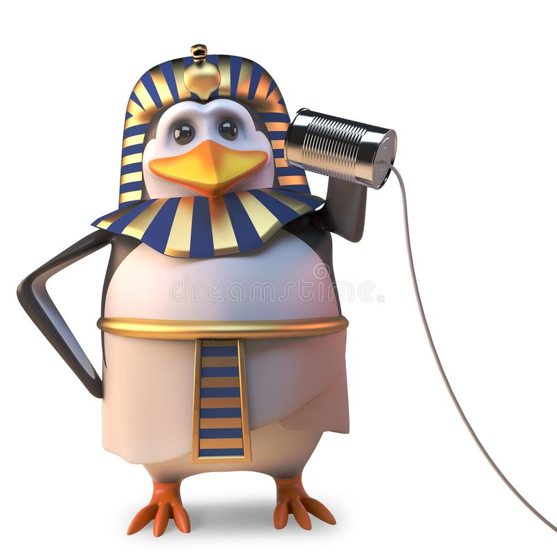 Cool Egyptian penguin pharaoh using a very basic tin can phone to communicate, 3d illustration royalty free illustration