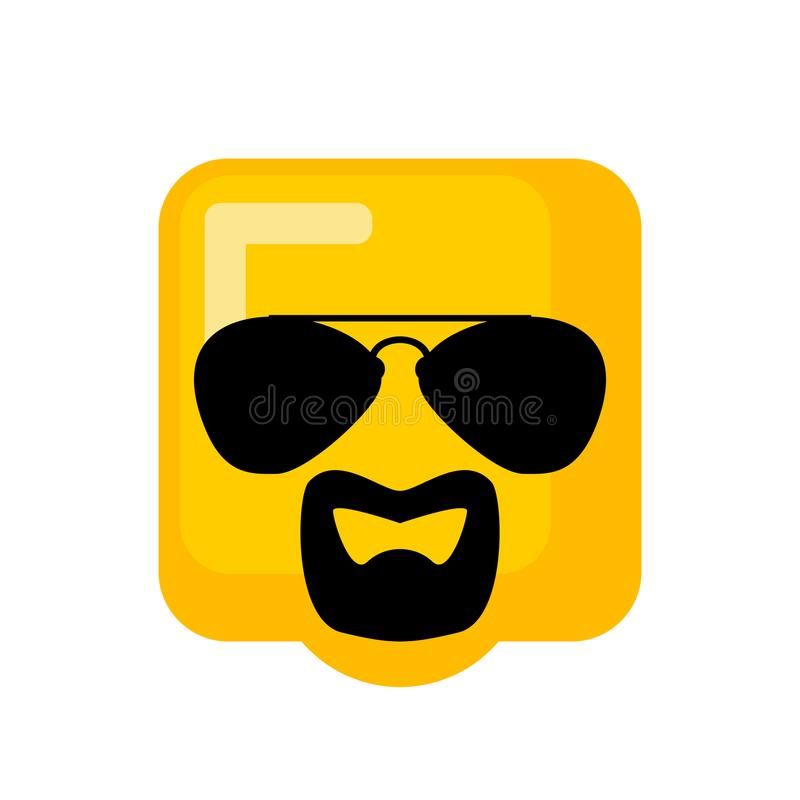 Cool Emoji With sunglasses and goatee beard. vector illustration.  vector illustration