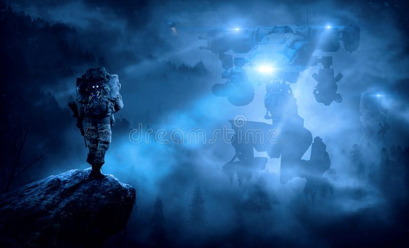 Cool fantasy wallpaper. A cool photo manipulation wallpaper with robots impacting the earth stock photo