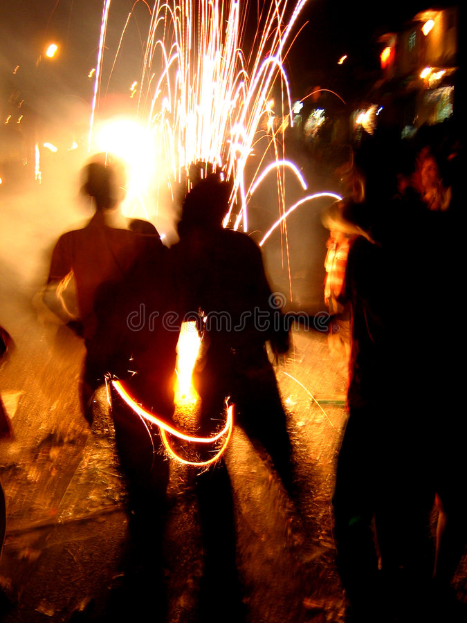 Cool Fireworks. Indian children play with fireworks during diwali festival