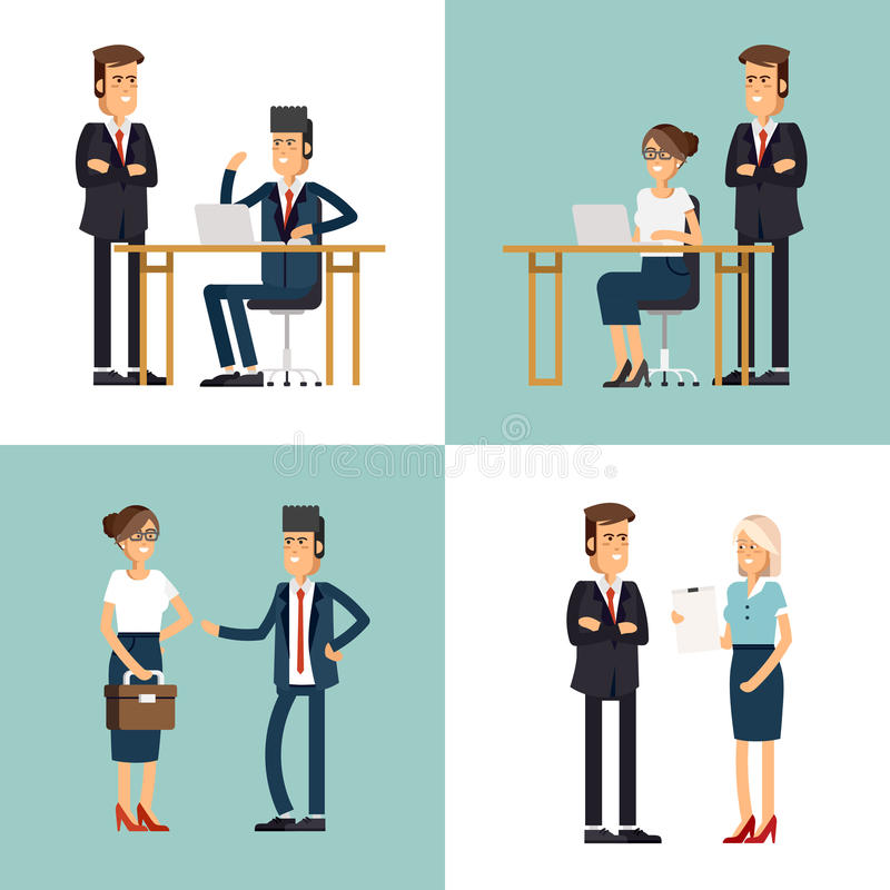 Cool flat design corporate business team people stock illustration