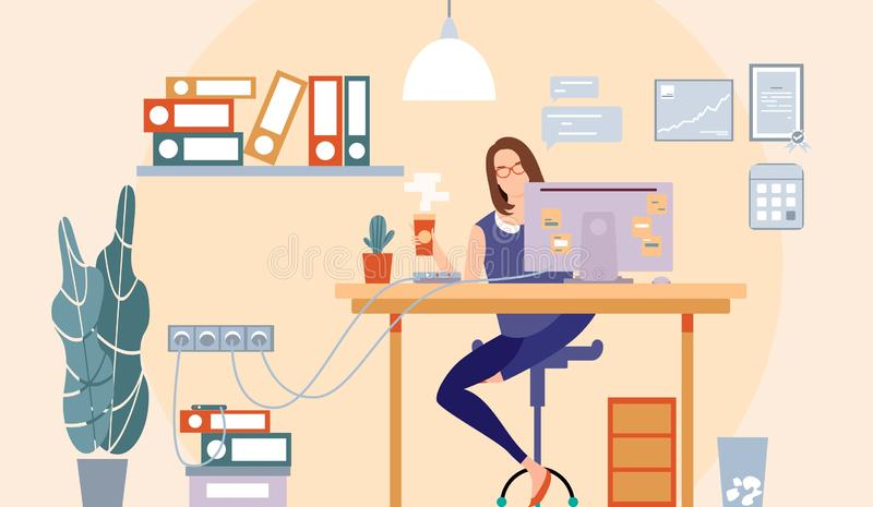 Cool flat design of a freelance worker. Woman business. Girl sitting on the desk drinking coffee and working. Vector illustration. royalty free stock photos