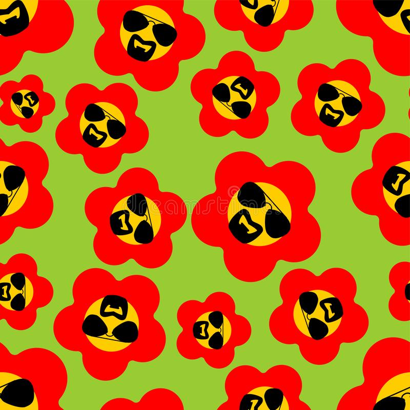 Cool Flower with glasses and goatee beard pattern seamless. vector background.  stock illustration