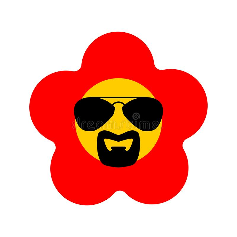 Cool Flower with glasses and goatee beard. vector illustration.  stock illustration
