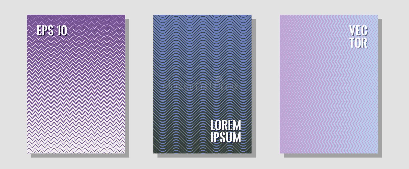 Cool flyers set, vector halftone poster backgrounds. Music placards. Zigzag halftone lines wave stripes backdrops. Educational notepads. Geometric lines shapes royalty free illustration