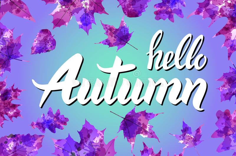 Cool fresh blue Hello Autumn design with elegant white text and bunches of orange fall leaves over a graduated blue background wit stock illustration