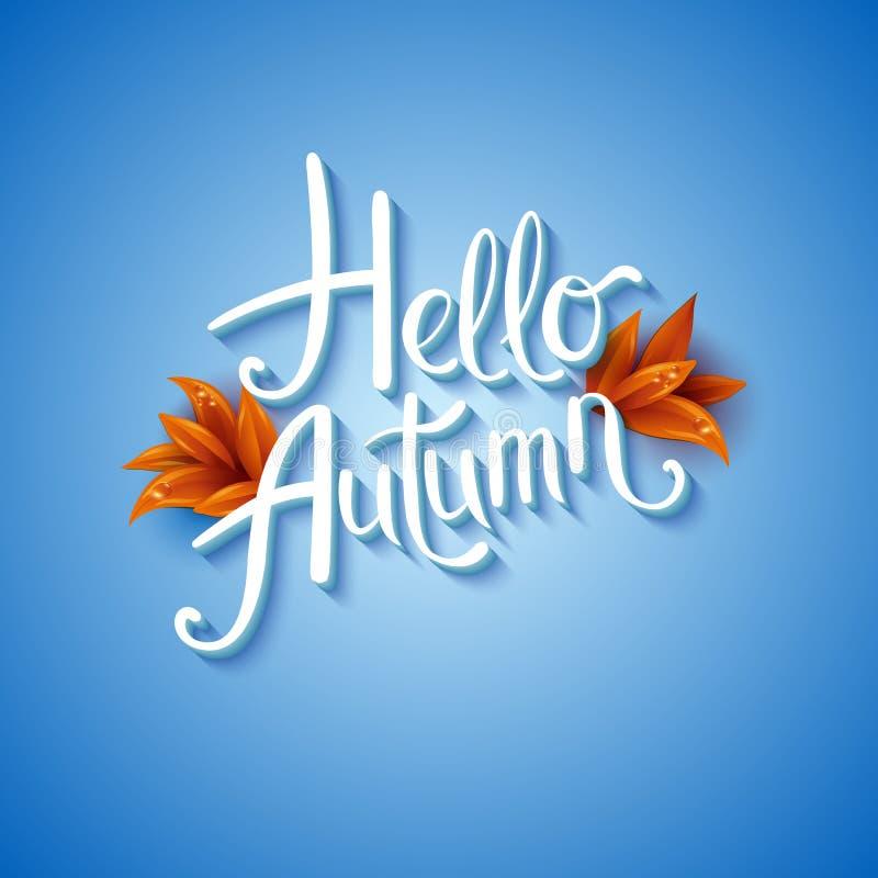 Cool fresh blue Hello Autumn design with elegant white text. vector illustration