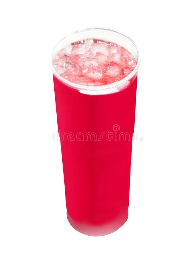 Cool Frozen Red Fruit Slush Drink in Plastic Cup royalty free stock photos