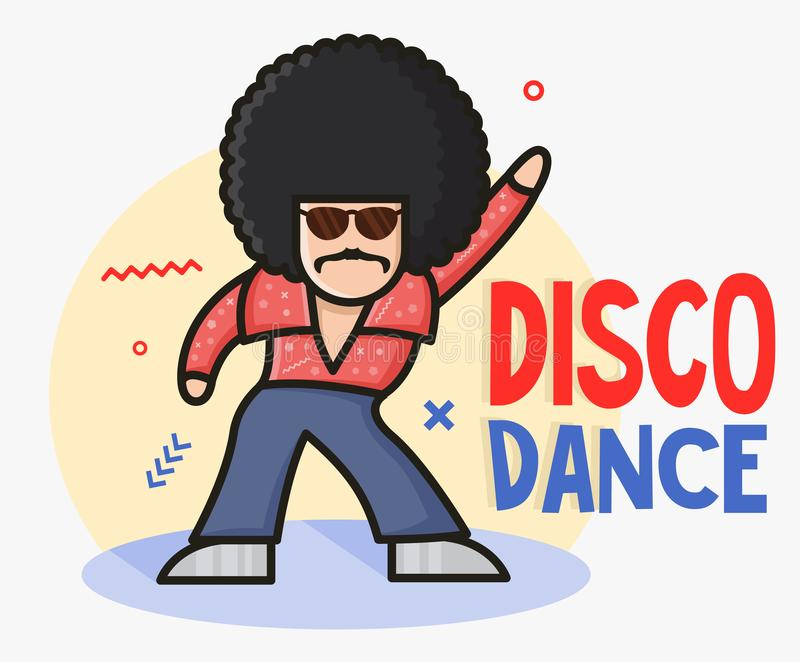Cool funny cartoon disco dancer mascot.  Soul Party Time. Funk or disco style. Retro afro character. Young man dressed in 1970s vector illustration