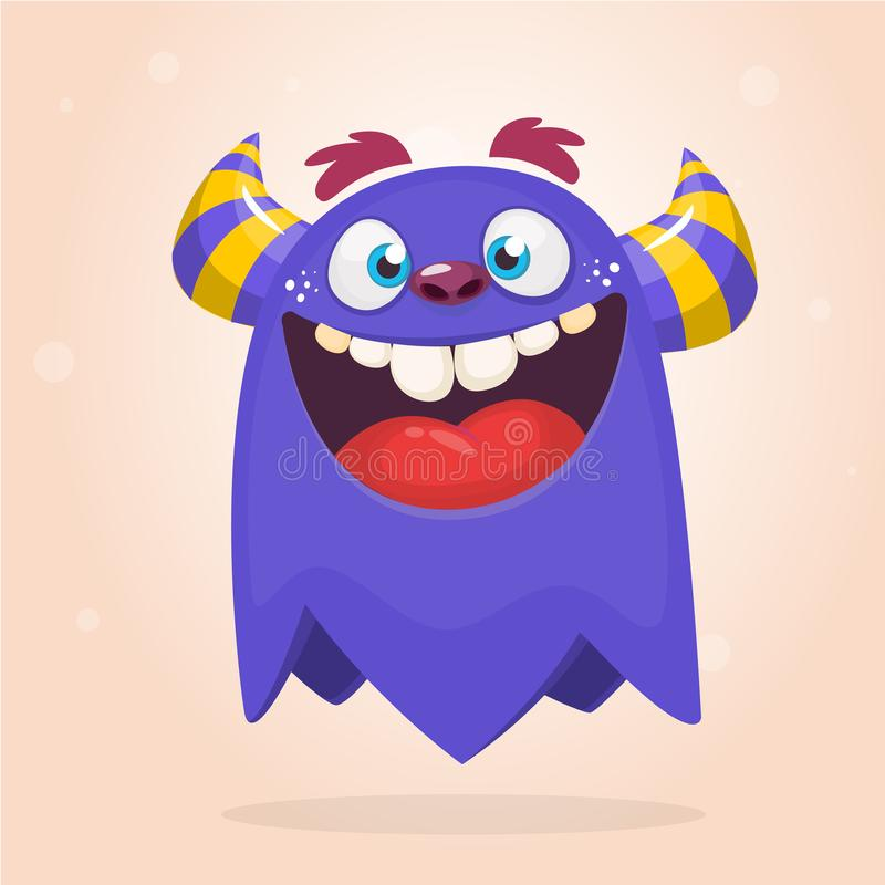 Cool funny cartoon monster. Vector Halloween green monster. Design for stickers, party decoration or children book. royalty free illustration