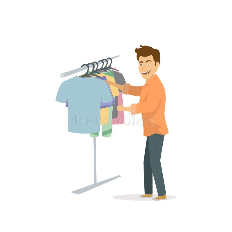 Cool funny cheerful guy choosing clothes , shopping stock illustration