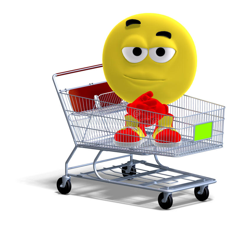 Cool and funny emoticon sitting in a shopping royalty free illustration